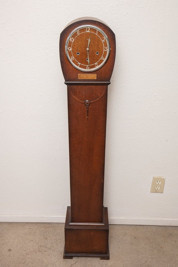 Smiths British Tall Skinny Grandmother Clock in the Art Deco Style