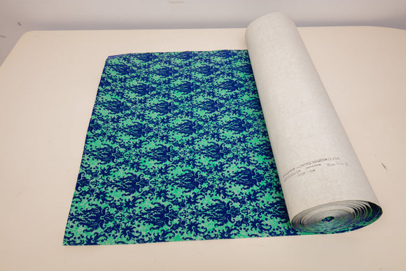 Roll of Vintage Textured Blue Velvet Wallpaper