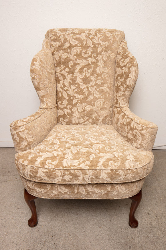 Queen Anne Beige Upholstered Wing Back Chair