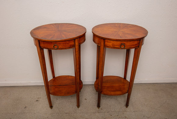 19th Century Louis XVI Style Satin Wood Side Table Pair