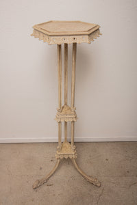 Tall White Distressed Torchiere Wood Plant Stand #1