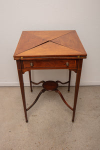 Antique Belgian Continental Mahogany Handkerchief Folding Table by Oetzmann & Co