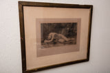 Etching of Reclining Female Nude