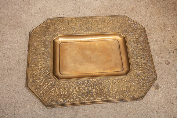 Art Nouveau Hand Hammered Mounted Brass Tray Wall Art