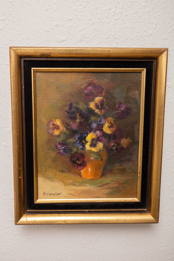 A. Garcian Oil on Canvas Painting of Pansies