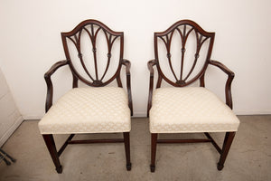 Mahogany Shield Arm Chair Pair