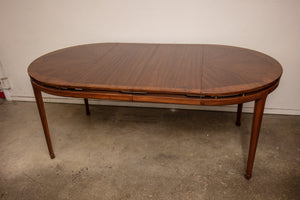 Mid Century Open Work Dining Table with Brass and Two Leaves