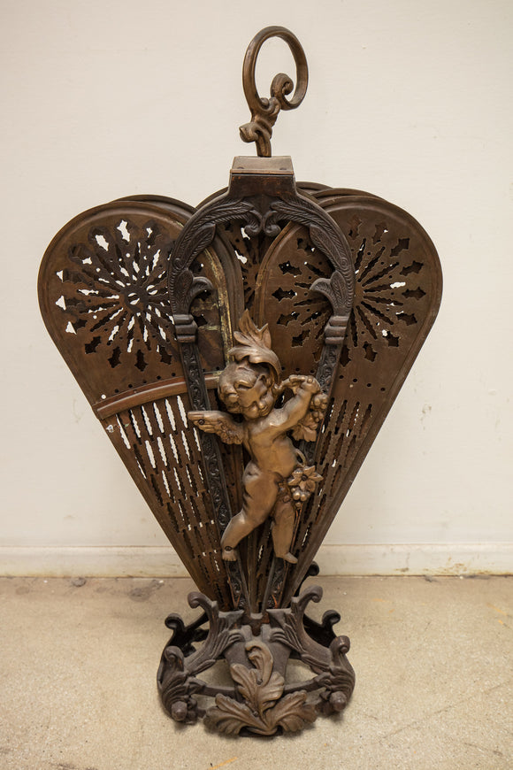 Brass Putti Cherub Fireplace Screen As Is