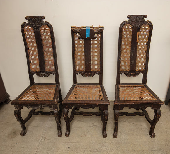 Antique Spanish Caned Back Side Chairs Set of 3