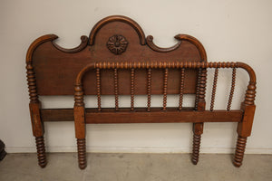 Antique Hand Turned Wood Headboard and Footboard