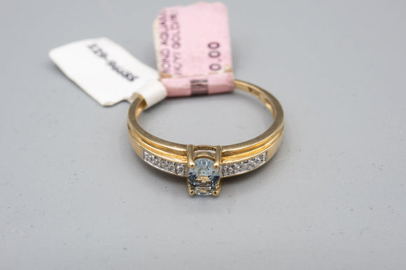 9K Yellow Gold European Aquamarine .35 Carat Ring with Small Diamonds Size 9 1/4