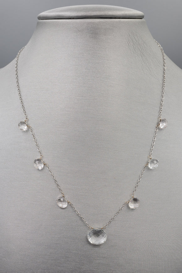 14K White Gold and Clear Quartz Necklace