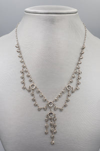 Sterling Silver Vintage Art Deco Chandelier Chocker Necklace with Crystals