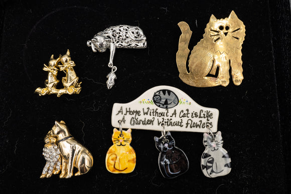 Cat Pin Brooch Lot of 5
