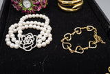 Costume Bracelet Lot of 6 Pieces Faux Pearls and Rhinestones