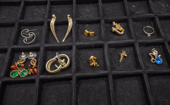 Costume Jewlery Lot of 5 Earrings, 4 Pins, and 1 Ring