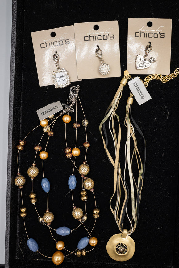 Costume Chico's NWT Lot of 2 Multi-Strand Necklaces and 3 Charms