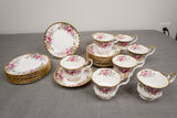 "Royal Albert ""Autumn Roses"" 24 Piece Lot of Bread Plates and Cup and Saucers"