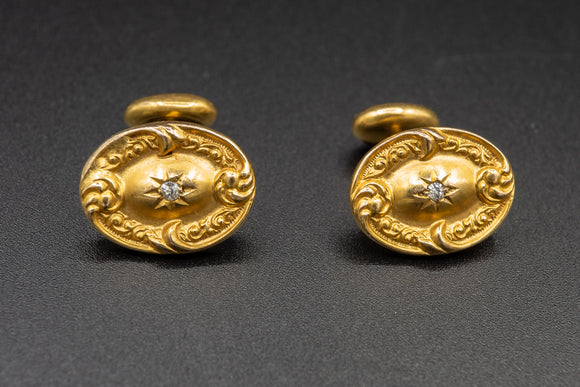 18K Yellow Gold and Diamond Cufflinks