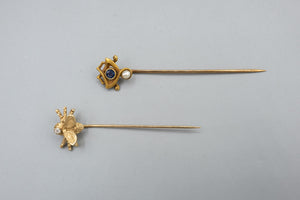 14K Gold Hat Pin Pair