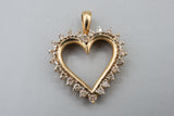 10K Yellow Gold and Diamond Heart Pendant .50 Carats