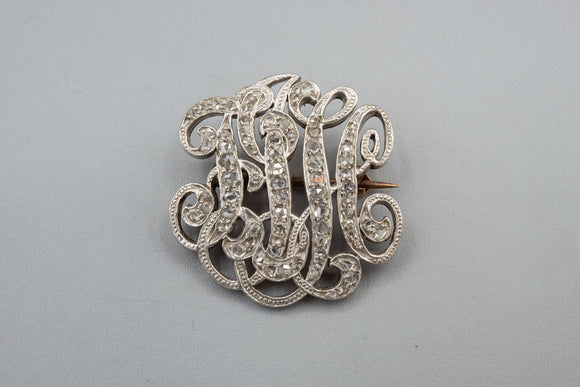 Antique Victorian 14K Rose Gold Monogram Brooch with .50 Carats of Rose Cut Diamonds