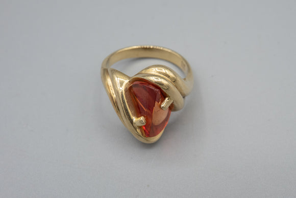 Designer Strell 14K Yellow Gold Abstract Wave Ring with Orange Stone Size 7