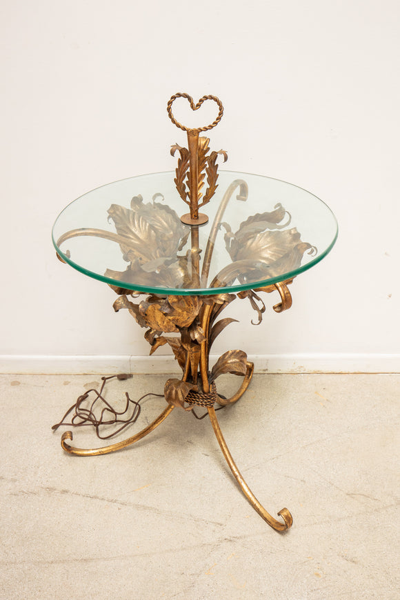 Hollywood Regency Gold Floral Side Table with Lights