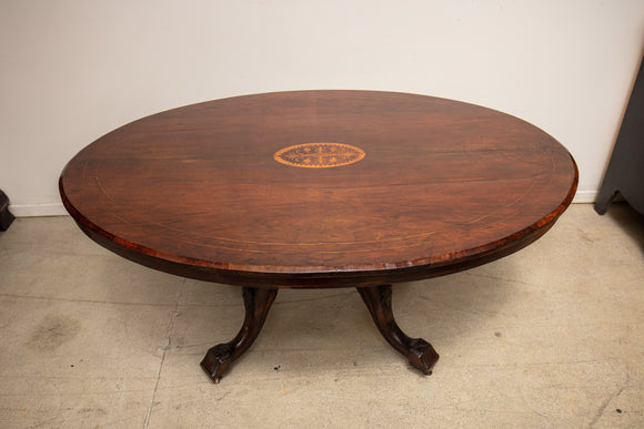 Antique Inlay Coffee Table with Carved Feet