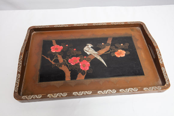 Japanese Lacquer Wood Tray of Bird