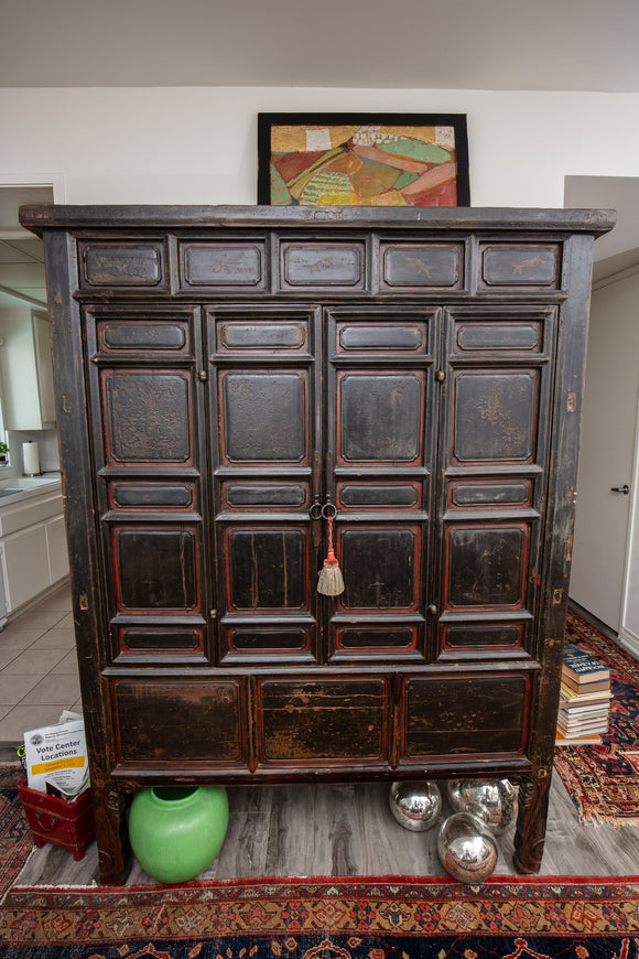 Chinese Vintage Carved Armoire Storage Cabinet