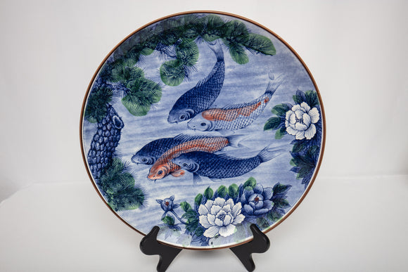 Japanese Sun Ceramics Koi Fish Charger