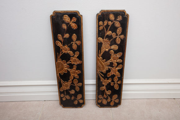 Carved Asian Floral and Gold Wall Hanging Pair