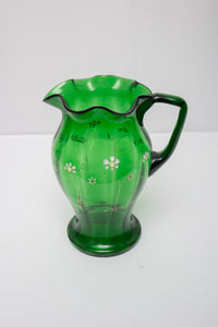 Victorian Green Glass Enameled Flowers Water Pitcher