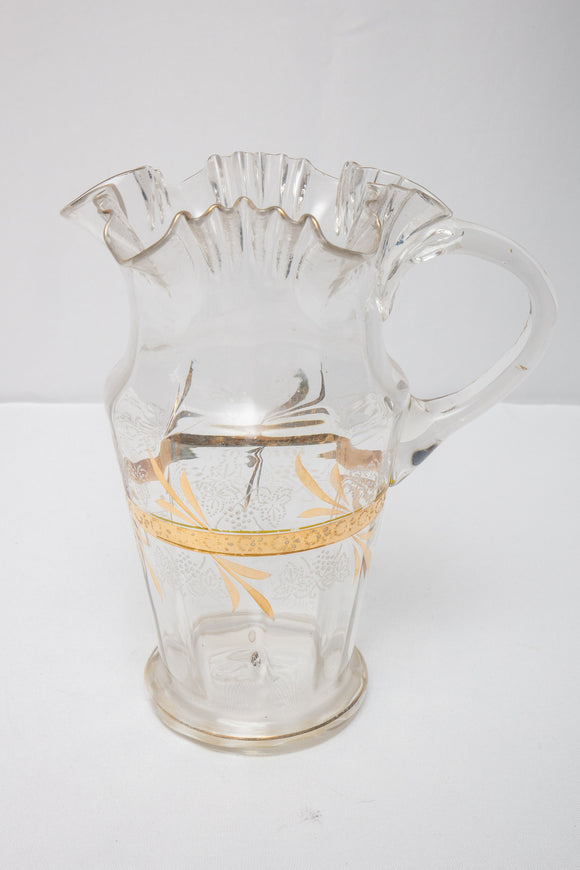 Victorian Clear Glass Enameled Grape and Gold Water Pitcher