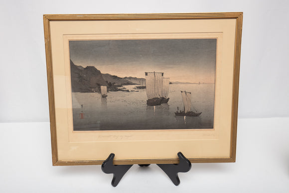 "Kwasson Suzuki ""Kominato Bay by Night"" Japanese Woodblock"