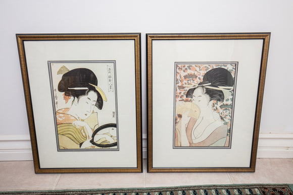 Japanese Woodblock Print Pair in Frame From Museum Shop