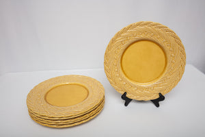 "Este CE Ceramiche Italy Basket Weave Yellow Charger Set of 6 12 7/8"" Diameter"
