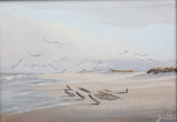 Wayne Fulcher Watercolor of Seagulls on a Beach