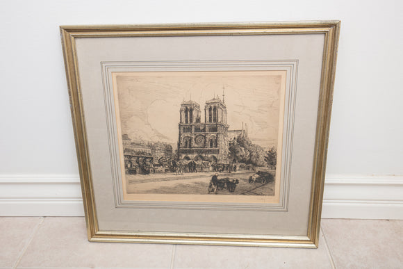 Antique Etching of Notre Dame Signed Kelly Circa 1915