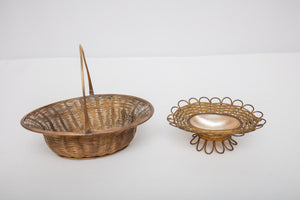 Brass Woven Basket Pair One with Shell
