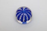 Signed Murano Glass Italy Blue and White Lattice Paperweight