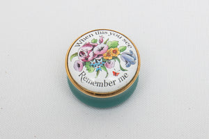 "Halcyon Days Enamels ""When this you see Remember me"" Screw Top Enameled Box"