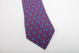 Hermes Silk Tie Blue and Red Rings Geometric Design