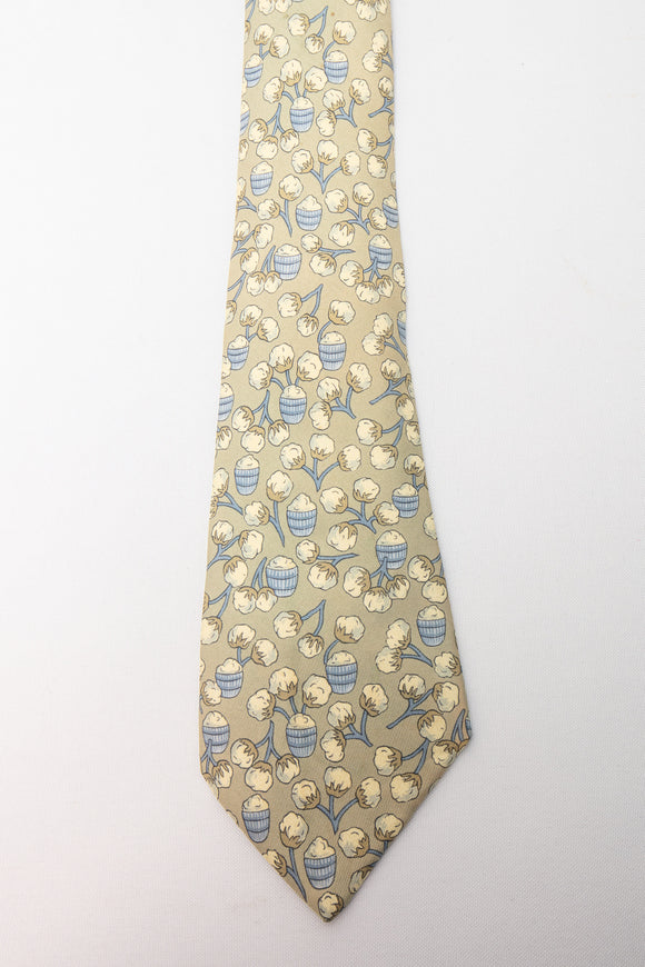 Hermes Silk Tie Green with Cotton As Is
