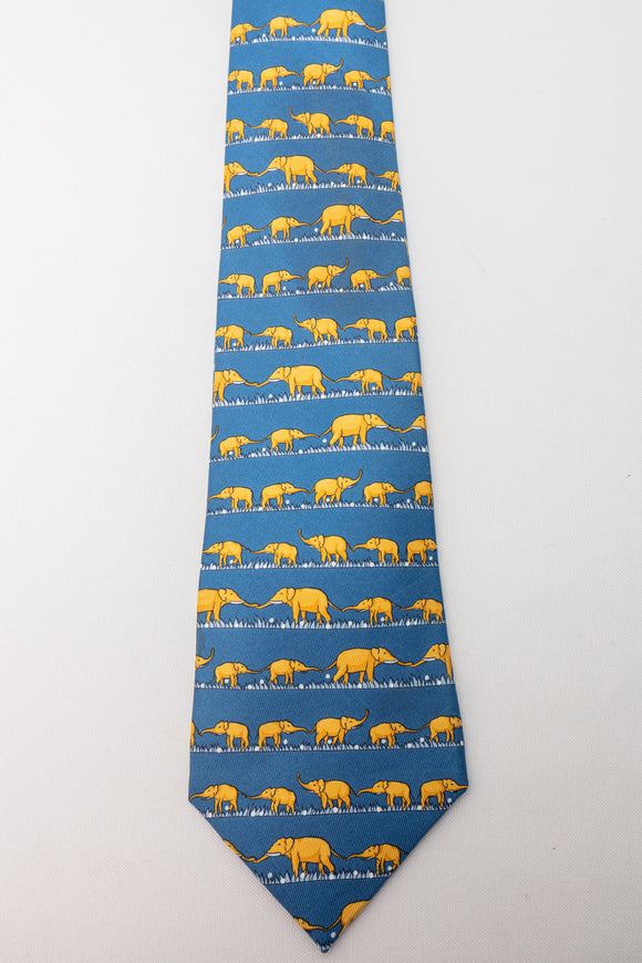 Hermes Silk Tie Blue with Yellow Elephants