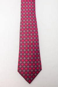 Hermes Silk Tie with Purple and Pink Geometric Design