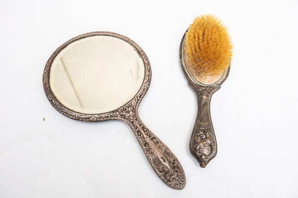 Birmingham English Sterling Vanity Mirror and Brass Art Nouveau Brush