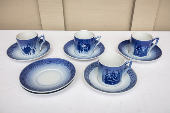 Royal Copenhagen Denmark Christmas Set of 4 Cups and 6 Saucers