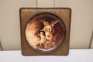 Framed Antique Limoges Angel Plate